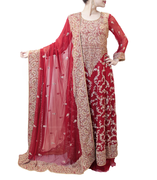 RED BRIDAL GOWN WITH PLAZO