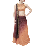 PEACH AND PLUM LEHENGA SAREE