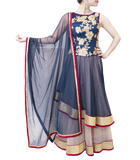 BLUE AND GOLD HEAVY ANARKALI