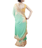TURQUOISE AND GOLD SAREE