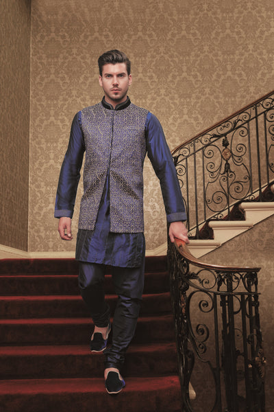 NAVY BLUE KURTA PAJAMA WITH KOTI
