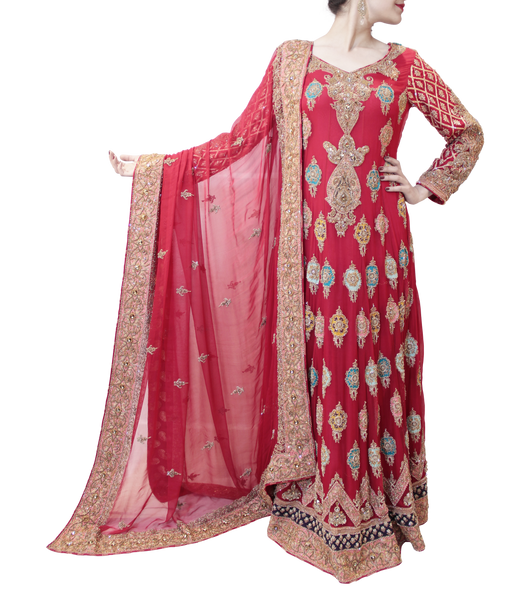 RED PAKISTANI BRIDAL GOWN WITH MULTICOLORED TRAIL