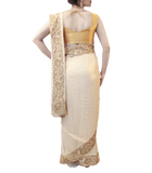 WHITE AND GOLD SAREE