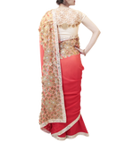 RED AND CREAM SAREE