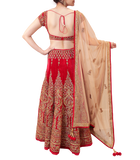 MAROON AND GOLD BRIDAL LEHENGA