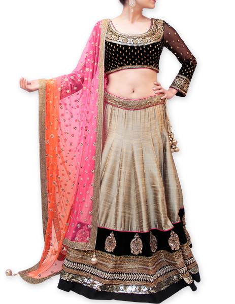 BLACK/OLIVE GREEN BRIDAL LEHENGA