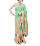 GOLD AND SEA GREEN SAREE