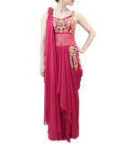 PINK SAREE GOWN