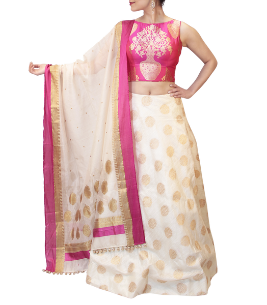 WHITE AND PINK  LEHENGA