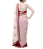 MAROON AND CREAM SAREE