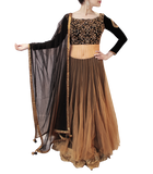 BLACK AND GOLD BRIDAL LEHENGA