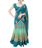 EMARALD AND TURQUOISE LEHENGA SAREE