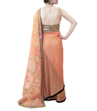 PEACH AND GOLD SAREE
