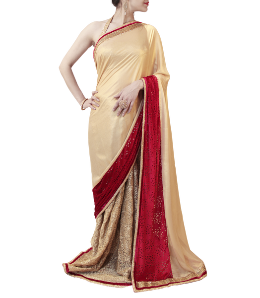 GOLD AND MAROON SAREE