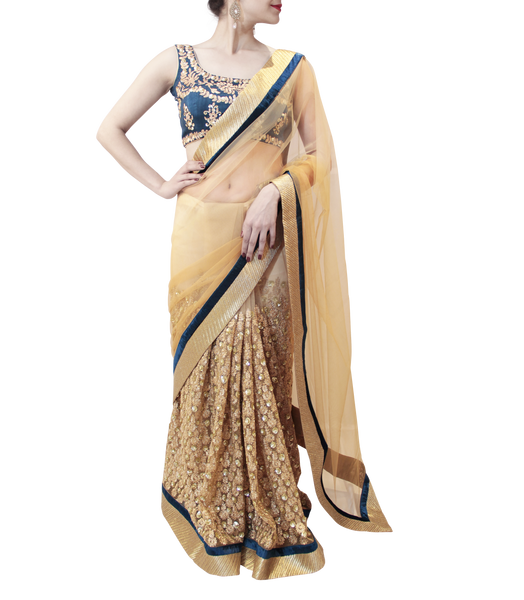 GOLD AND BLUE SAREE