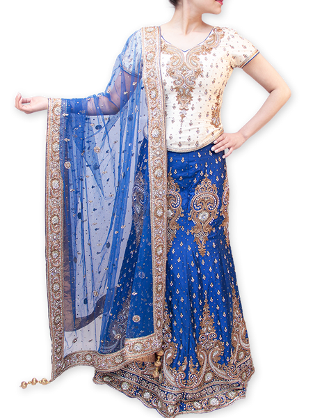 WHITE AND BLUE BRIDAL LEHENGA