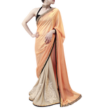 PEACH AND BLACK SAREE