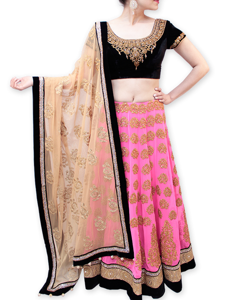 PINK AND BLACK BRIDAL LEHENGA