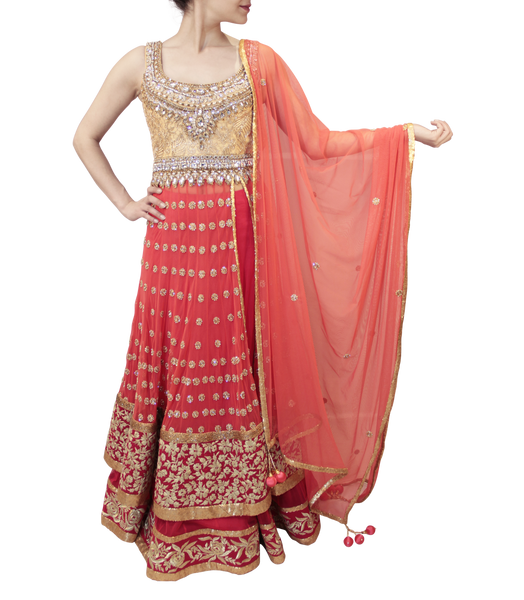 PEACH AND PINK LACHA STYLE