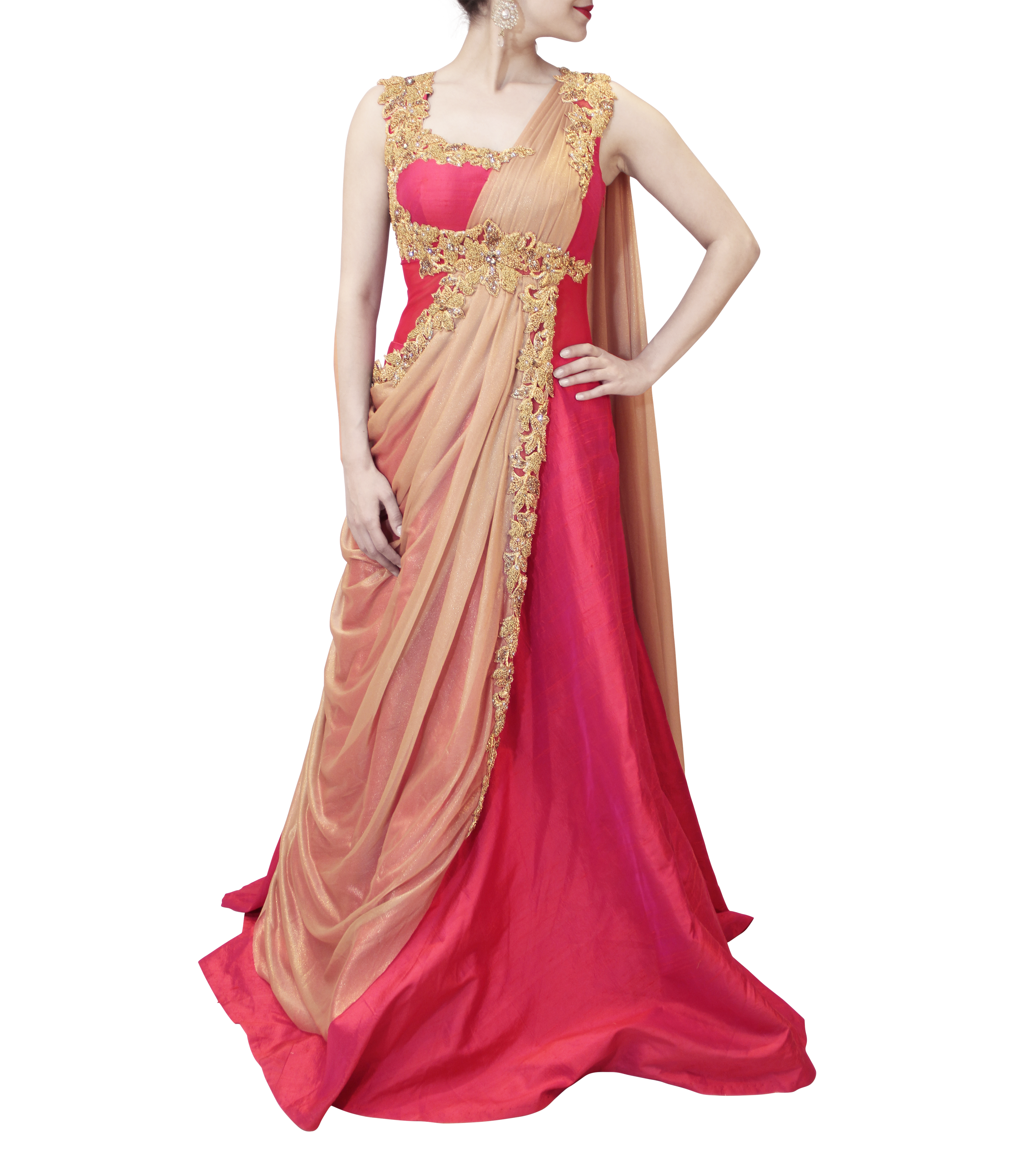 GOLD AND PINK SAREE GOWN – Sahil Exclusive