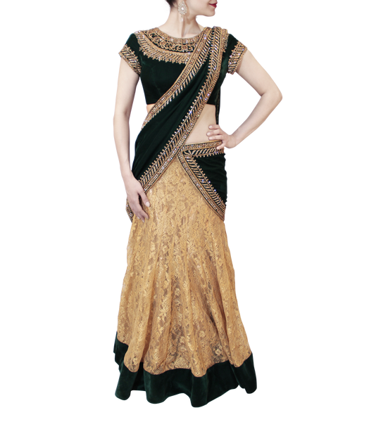 GOLD AND GREEN LEHENGA SAREE