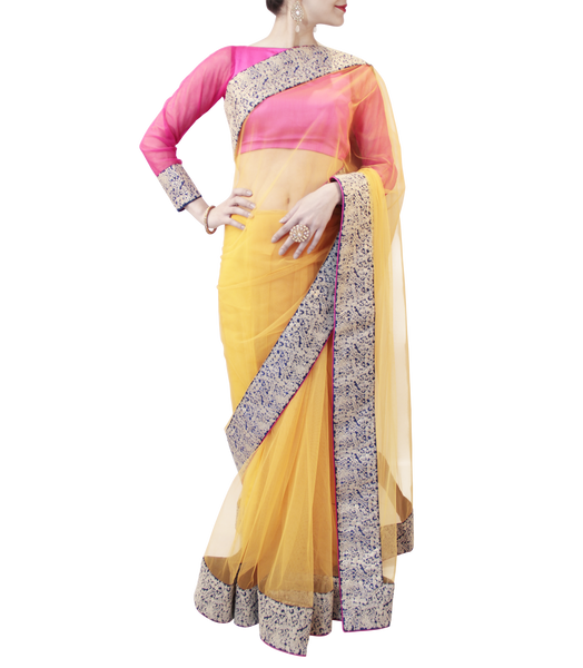 PINK AND YELLOW SAREE