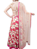 PINK AND CREAM FLORAL LEHENGA