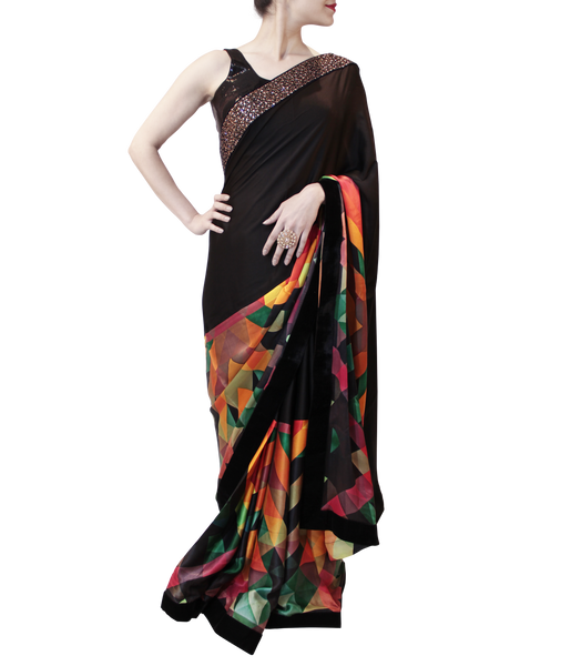 BLACK WITH MULTI COLOR SAREE