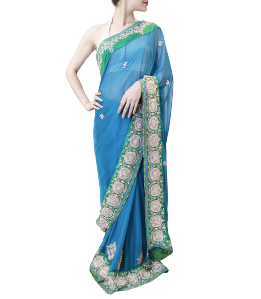BLUE AND GREEN SAREE