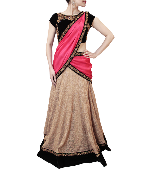 BEIGE AND BLACK LEHENGA SAREE