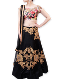 BLACK LEHENGA WITH FLORAL BLOUSE
