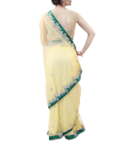 YELLOW AND TEAL SAREE