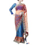 RUST AND BLUE SAREE