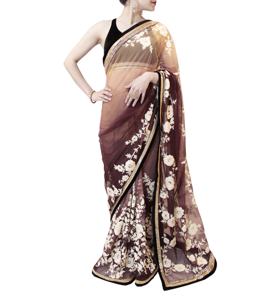 BLACK AND BURGANDY SHADED SAREE
