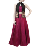 PLUM LEHENGA WITH BLACK BLAZER