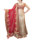 WHITE AND RED BRIDAL LEHENGA