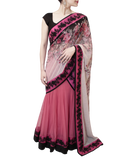 BLACK AND PINK LEHENGA SAREE