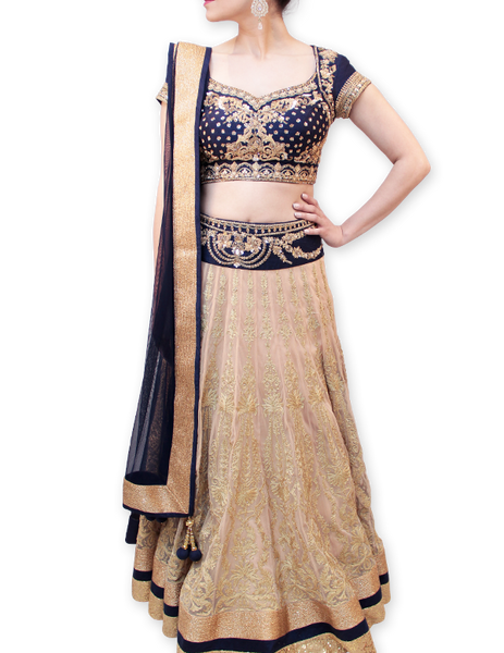 BLUE AND GOLD BRIDAL LEHENGA