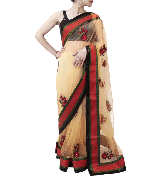 BEIGE AND BLACK SAREE