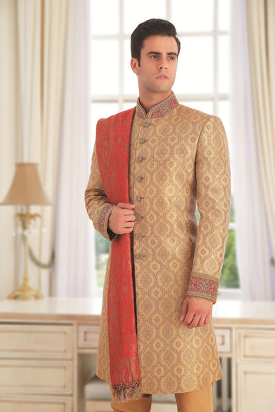 Men's Gold sherwani with Red dupatta