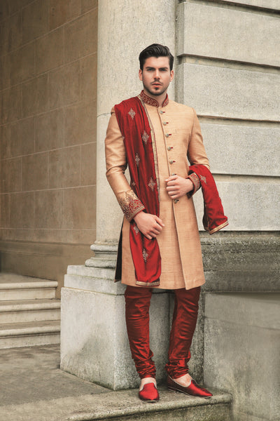 Men's beige and maroon sherwani