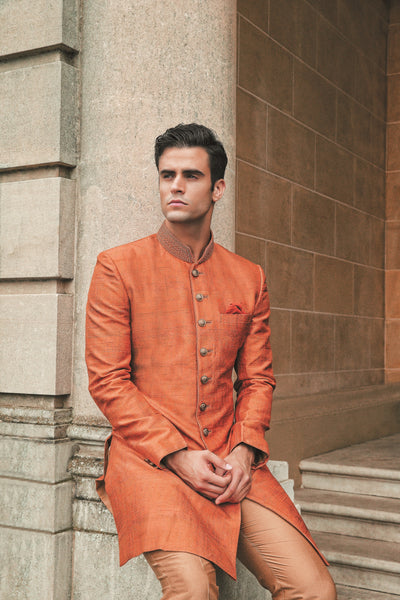 Men's Rust colored sherwani