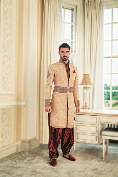 Men's 3 piece Cream and maroon Sherwani
