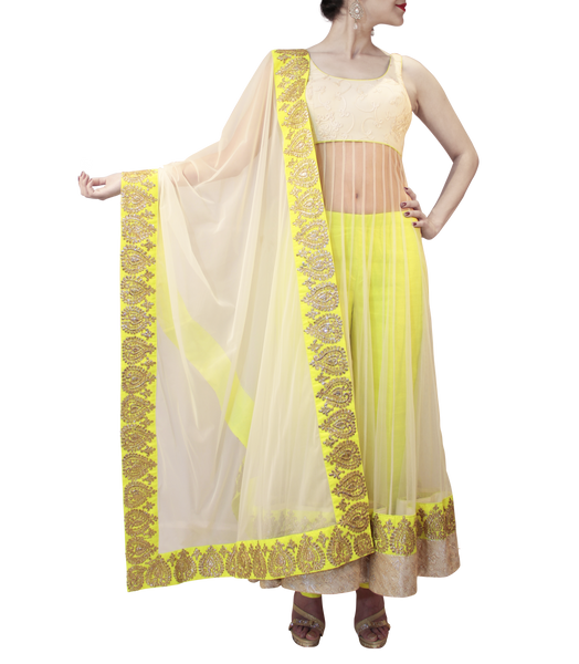 LIME GREEN AND OFF WHITE HEAVY ANARKALI