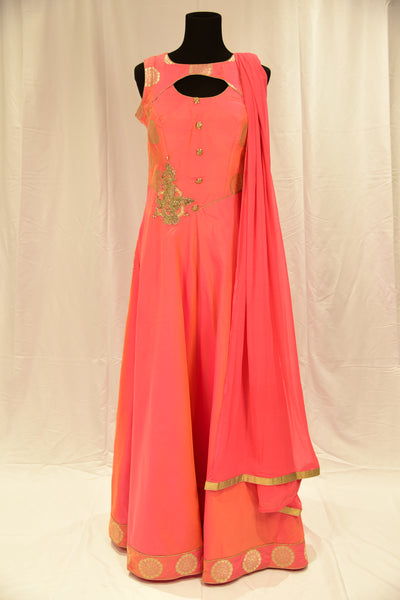 Pink anarkali gown