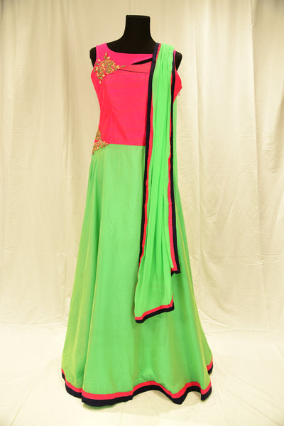 Hot pink and light green Anarkali