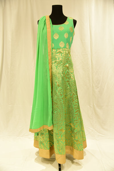 Green Anarkali Gown