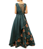 Emerald green floral gown