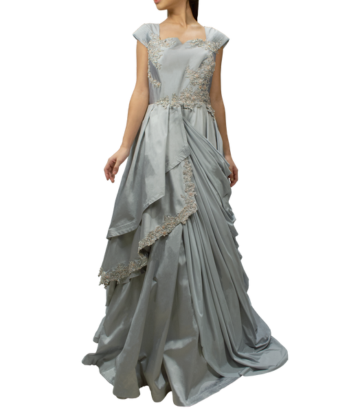 Metalic Grey Drape Gown
