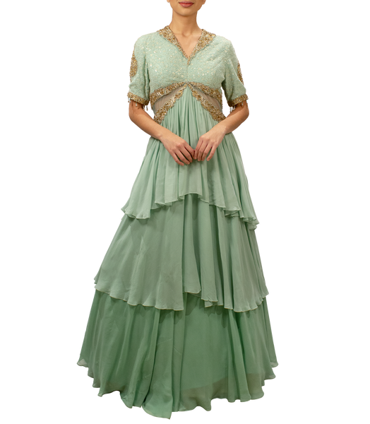 Mint green layered Gown